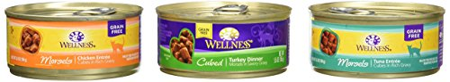 Wellness Natural Grain-Free Cubed Wet Cat Food Variety Pack Box - 3 Flavors (Tuna, Turkey, and Chicken) - 12 (5.5 Ounce) Cans - 4 of Each Flavor