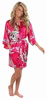 Anntourage Women's Kimono Robe, Peacock Design, Short- CLOSEOUT