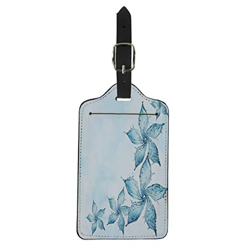 Semtomn Luggage Tag Blue Abstract Flower Made of Water Splash 3D Rendering Suitcase Baggage Label Travel Tag Labels