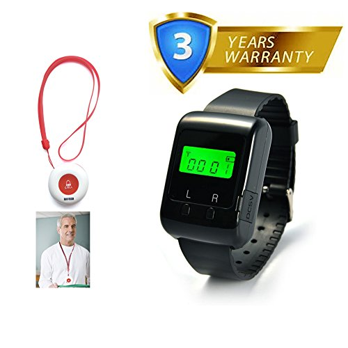 Caregiver Pager Wireless Nurse Medical Calling System for Elder Restaurant Nursing Home with 1PC Wearable Watch Receiver and 1PC Portable Pendant Waterproof Call Buttons