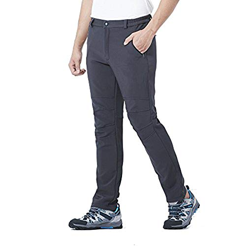 DR. MAのGOTEK Men's Outdoor Pants for Hiking, Mountaineering, Skiing, Travel, Soft Shell Fleece Lined Trousers with Zipper Pockets (Gray, M)