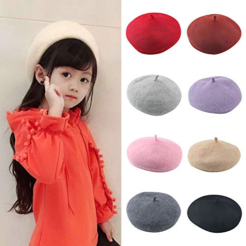 Gbell Toddler Kid Girls Winter Beret - Baby Infant Solid Hat Beanies British Painter Cap,Simple Solid Colors Wool Blends ()