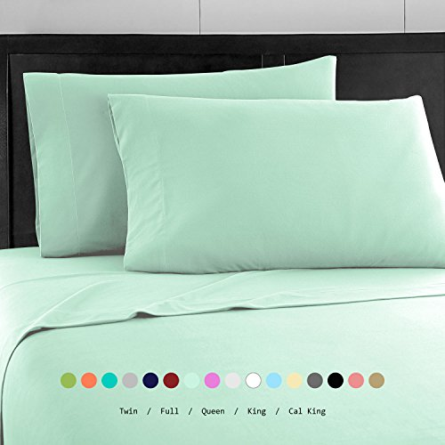 Prime Bedding Bed Sheets - 4 Piece Queen Sheets, Deep Pocket Fitted Sheet, Flat Sheet, Pillow Cases - Queen Sheet Set, Mint Four Piece Queen Bed