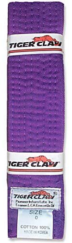 Tiger Claw 100% Cotton Martial Arts Uniform Ranking Belt- Purple (Martial Arts Uniform Belt)
