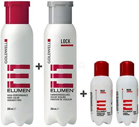 Tinte Goldwell Elumen rojo de 200 ml + ellante de color de 250 ml + champú de 50 ml + cuidado intensivo de 50 ml