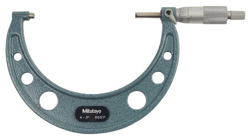 Mitutoyo 103-219 Outside Micrometer, Baked-enamel Finish, Ratchet Stop, 4-5
