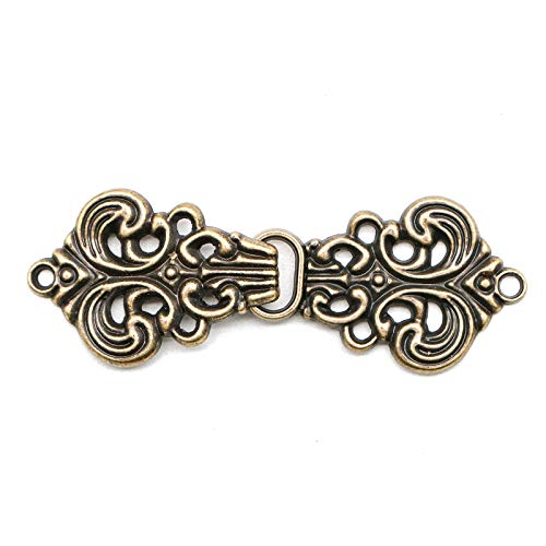 WSSROGY 10 Pairs Baroque Swirl Antique Brass Color Hook and Eye Cloak Clasp Fasteners, 58MM x 21MM -