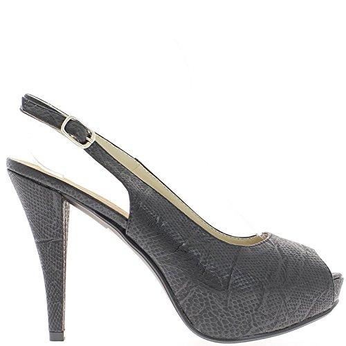 Sandales noires bout ouvert talon de 10cm