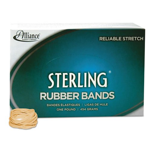 Alliance Rubber 24125 Sterling Rubber Bands Size #12, 1 lb Box Contains Approx. 3400 Bands (1 3/4'' x 1/16'', Natural Crepe)