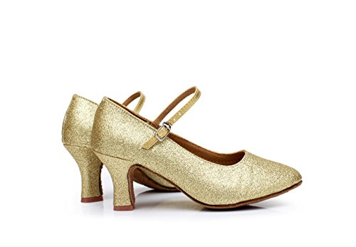 suave cm para ShangYi de Zapatos zapatos de baile modernos con de lentejuelas cuadrados zapatos una fondo para oro baile mujer adultos baile de baile altura de de latino 5 AFnqIwrFR