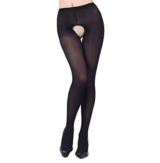 d55d7adfcd1 CURRMIEGO Women Sexy Open Crotch Tights Plus Sized Crotchless Pantyhose  Stocking (Black