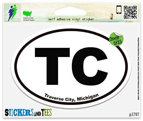 TC Traverse City Michigan Oval Vinyl Car Bumper Window Sticker 5