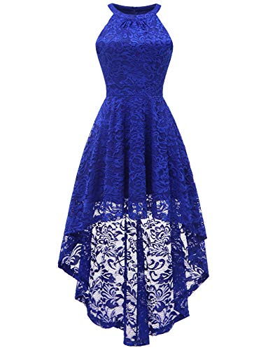 BeryLove Women's Halter Hi-Lo Floral Lace Cocktail Dress Sleeveless Bridesmaid Formal Swing Dress BLP7028RoyalBlueXS