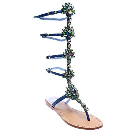 Tamaño Planos Marca Hoesczs Ocio Bohemia Mujer Cristales Más Tacones Sandalias Sandalia De 33 Zapatos Verano Estilo 45 Blue Mejor Calidad EYEFq
