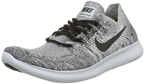 NIKE Mens Free RN Flyknit 2017 Running Shoes White/Black-Stealth-Pure Platinum 880843-101 Size 11