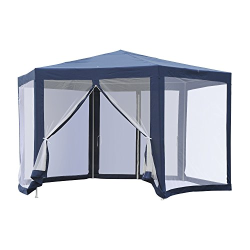 Outsunny Outdoor Cathedral Style Roof Party Gazebo with Mesh Walls- - With Picnic Net Tent