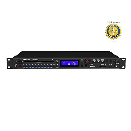 Tascam CD-400U CD/Media Player with Integrated AM/FM Receiver and 1 Year EverythingMusic Extended Warranty Free by Tascam