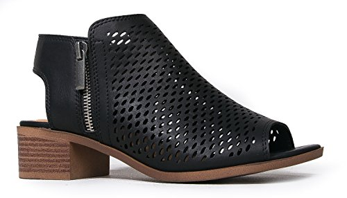 J. Adams Tracy Perforated Flat Bootie - Casual Open Toe Low Heel - Cut Out Shoe, Black Pu, 7