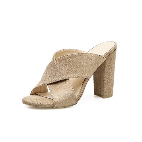 ZHZNVX El Nuevo Verano Fresco y ranurados y Ultra-Alta con Pesados y Gruesos Zapatos de Mujer Impermeable Boca de Pescado en Taiwán los Zapatos de Tacón Alto, Beige 39