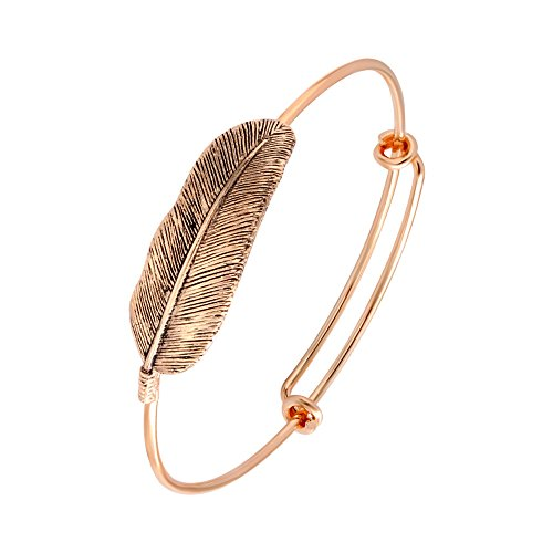SENFAI Retro Alloy Gold Plated Leaf Bracelet Fashion Charms Feather Bracelets Vintage Simple Bangles for Women (Rose Gold)