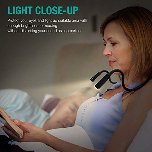 Vekkia Rechargeable Neck Book Light - 2 LED Reading Lights Books in Bed. 3 Colors, 9 Brightness Levels, Up to 60 Hrs Lasting, Hands Free for Bookworms, Crafts & Runner (Black, Buckle Rope Included)