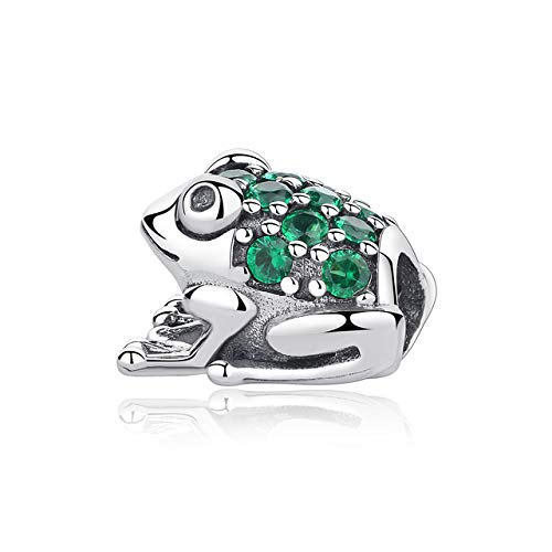 Pukido Authentic 100% 925 Sterling Silver Charm Bead Pave CZ Frog Charms Green Blue Fit Pandora Bracelets DIY Women Jewelry Making - (Color: ()