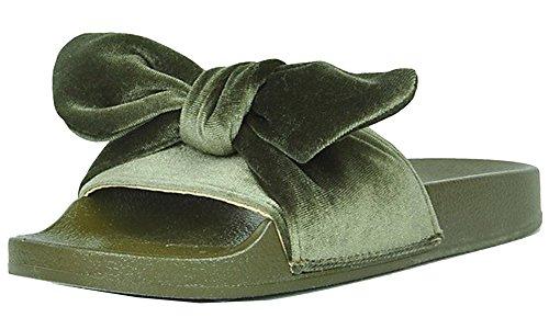 Refresh Footwear Women's Velvet Bow Slip On Slide Sandal (8 B(M) US, Khaki)