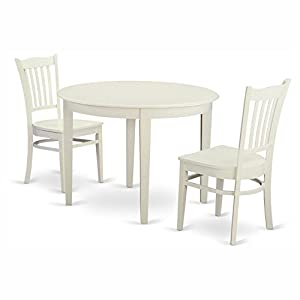 East West Furniture Boston 3 Piece Round Dining Table Set with Groton Wooden Seat Chairs