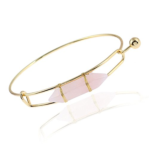 ISAACSONG.DESIGN Unisex Natural Healing Crystal Stone Hexagonal/Bead Lucky Chakra Reiki Pendant Necklace Bangle Bracelet (Pink Bangle Bracelet)