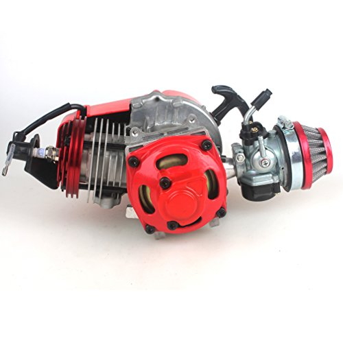 49cc 52cc Big Bore Pocket Bike Engine with Performance Cylinder CNC Engine Cover Racing Carburetor DIY Engine RED: