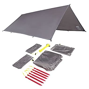 Sanctuary SilTarp - 10 foot x 8 foot Ultralight and Waterproof Ripstop Silnylon Rain Shelter Tarp, Guy Line and Stake Kit - Perfect for Hammocks, Camping and Backpacking