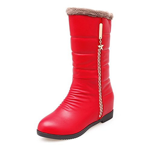 Allhqfashion Women's Kitten-Heels Soft Material Low-Top Solid Zipper Boots Red