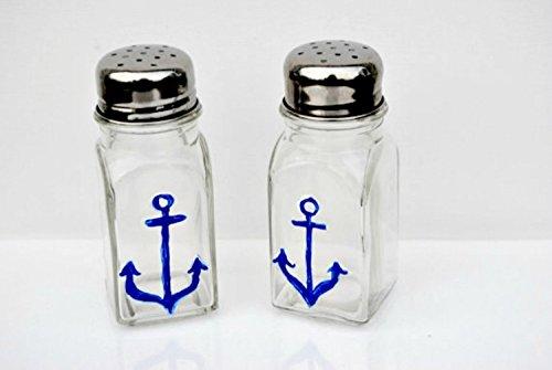 Nautical Navy Blue Anchor Glass Salt and Pepper Shaker Set, Kitchen Decor