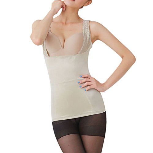 Zhhlinyuan Women's Respirabilidad Lace Vest Shaping Control Body Straight Back Slimming Tights Tops Nude