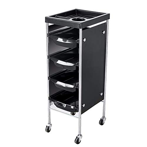 Hairdresser Maintenance Carts Hair Salon Beauty Salon Trolley Equipment Storage Rack with Bezel Pulley Perm Hair Dyeing Tool Car Black