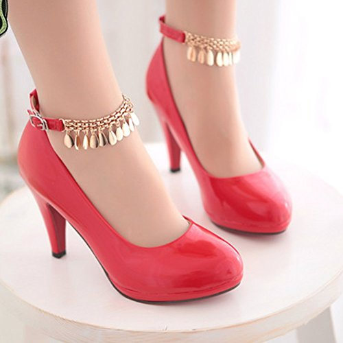 Shoes Strap Heels Ankle High Round Solid Womens Pumps Toe Easemax Chain Red FfwxqXgZvC