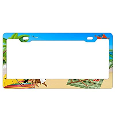 """YEX Abstract Beach Holiday License Plate Frame Car License Plate Covers Auto Tag Holder 6"""" x 12"""""""
