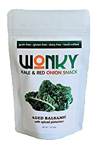 Wonky Aged Balsamic Kale and Red Onion Snack - Case of 8 - 1 ounce bags