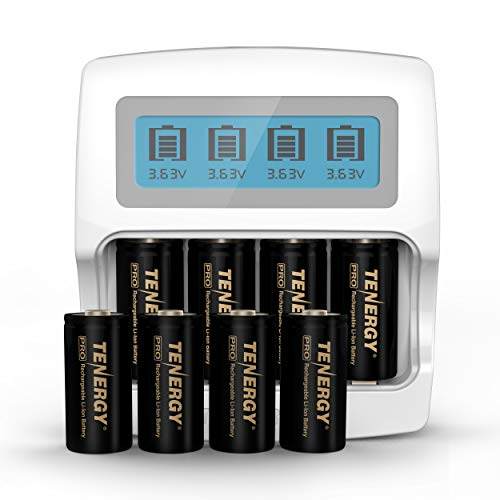 Arlo Certified: Tenergy Premium High Capacity 750mAh 3.7V Arlo Battery and Fast Smart Charger for Li-ion RCR123A Rechargeable Battery for Arlo Cameras (VMC3030/VMK3200/VMS3330/3430/3530), 8-Pack 650 Mah Replacement Battery