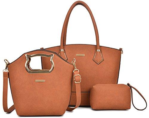 Women Handbag Purse Hobo Faux Leather Messenger Bag Clutch Satchel Bag 3 Piece Gift Set ()