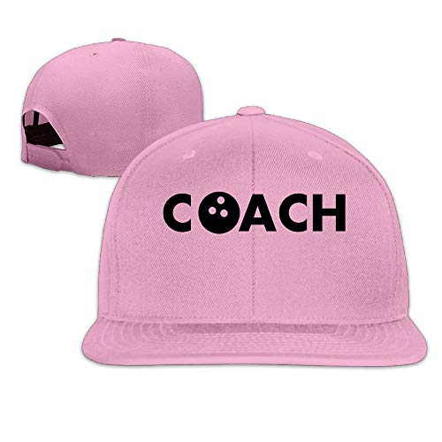 Fashion Cool Bowling Coach Unisex Flat Baseball Cap for Outdoor or Indoor Pink