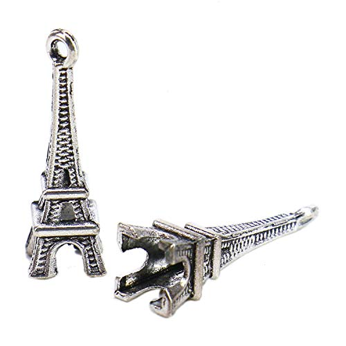 Monrocco 100Pcs Antiqued Silver Eiffel Tower Charms Pendants for Bracelet Jewelry Making