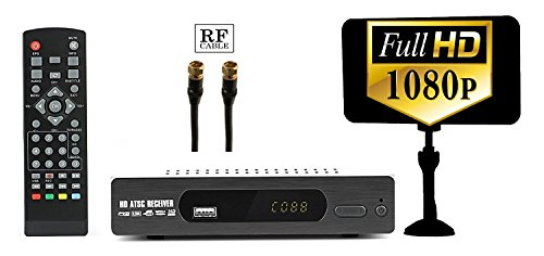 Digital Converter Box + Flat Antenna for Recording & Viewing Full HD Digital Channels for FREE (Instant & Scheduled Recording, 1080P HDTV, HDMI Output, 7 Day Program Guide & LCD Screen) RF Cable by eXuby
