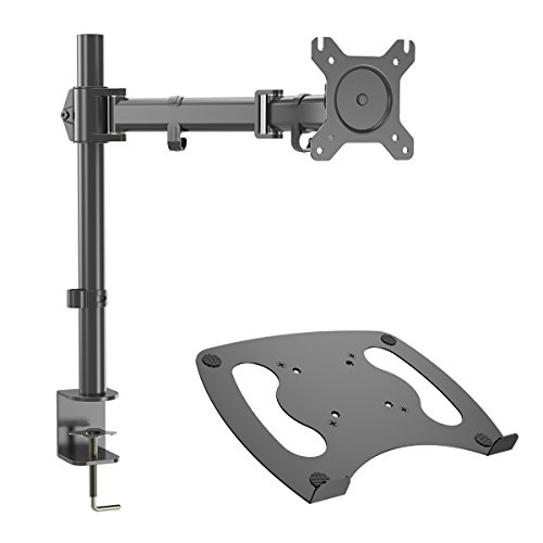 Gibbon Mounts Single Monitor Desk Mount Fit Full Motion VESA 75X75 and 100X100 Monitors with Free Removable Strong Steel Tray for Laptop 13