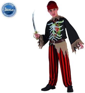 Atosa 5323 - Disfraz de esqueleto pirata para niño (12 años ...