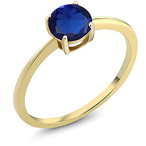 10K Yellow Gold 0.75 Ct Round Blue Simulated Sapphire Gold Solitaire Engagement Ring (Size (10k Gold Ring Size 5)