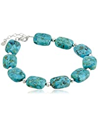 """Sterling Silver Synthetic Compressed Turquoise Rectangle Bead Link Bracelet, *"""" + 1.25"""" Extender"""