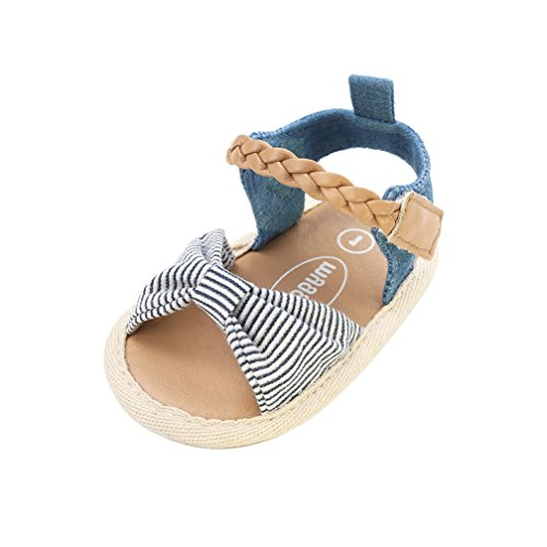 CoKate Baby Toddler Boy Girls Bow Knot Sandals First Walker Shoes (12cm 6~12Months, White and Blue Stripes)