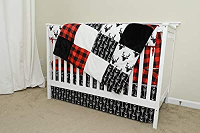 Crib Bedding Sets for Boys - 4 Piece Woodland Set for Baby boy Rustic Nursery Decor | Quilt Blanket, Crib Sheet, Skirt and Rail Cover | Deer Antler, Arrow Buffalo Plaid