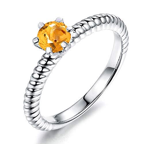 Daesar Promise Rings 925 Sterling Silver Rings Cubic Zirconia Rings Round Cut 6x6MM Citrine Rings Women Rings Size 5.5
